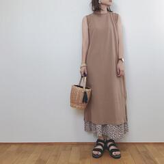 ワンピース/GU/花柄スカート/ファッション/わたしのお気に入り GUのIラインワンピースとフラワープリン…
