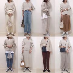 コーデまとめ/着回しコーデ/キーネックニット/GU/ファッション GUのケーブルキーネックセーターのコーデ…(1枚目)