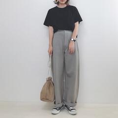 大人カジュアル/カーブパンツ/ユニクロ/ユニクロユー/ファッション 話題のカーブパンツ買いました♡ 色と種類…(1枚目)