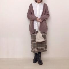ブーツ/チェックスカート/スタンドカラーシャツ/ユニクロコーデ/UNIQLO/ファッション この前買ったUNIQLOのスタンドカラー…