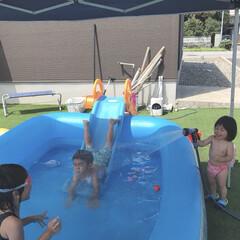 夏休み/水遊び/プール/おうちプール 夏休みに入ってから毎日おうちプール🏖 こ…