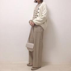 ワントーンコーデ/ベージュコーデ/上下GU/GU/ファッション 全身GUコーデ* パンツは990円で買っ…