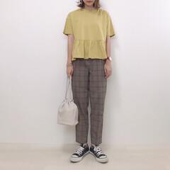 大人カジュアル/チェックパンツ/ジーユー/GU/ファッション 半袖にチェックパンツを合わせて秋モードに…