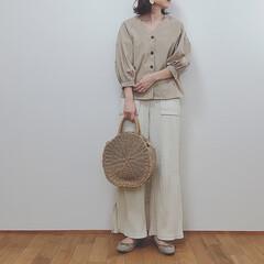 ワントーンコーデ/大人カジュアル/GU/ファッション/平成最後の1枚 バッグ以外GUコーデ✭ リブスリットワイ…