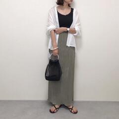 ファッション/GU/メッシュバッグ/タイトスカート/シアーシャツ/神戸レタス/... シアーシャツにタイトスカートで大人っぽコ…