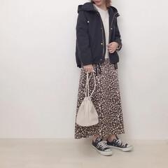 マウンテンパーカ/レオパード/しまむら購入品/しまパト/しまむら/ファッション しまむらのレオパードスカートをカジュアル…