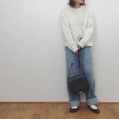 デニムコーデ/ユニクロユー/ニット/冬コーデ/冬/ファッション ユニクロユーのワイドデニム。 履きやすい…