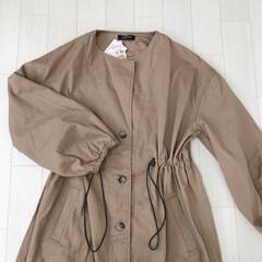 コート/ドローストリング/しまパト/しまむら購入品/しまむら/ファッション しまむら購入品。 長袖の羽織はまだ早いだ…