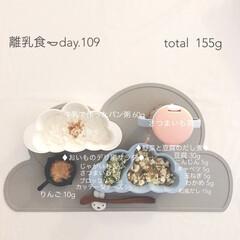 離乳食/赤ちゃん/生後9ヶ月/グルメ/フード 今日の離乳食。 パン粥美味しそうに食べて…