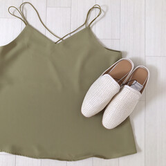 キャミソール/バブーシュ/GU購入品/ジーユー/GU/ファッション 少し前のGU購入品* バッククロスキャミ…