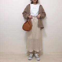 春コーデ/透かし編みニットスカート/プチプラのあや/GU/しまむら/ファッション GUの透かし編みニットスカート着回し* …