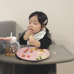 娘/1歳1ヶ月/離乳食完了期/離乳食/わたしのごはん/おうちごはんクラブ/... もぐもぐ中の娘。 大好きなかにぱんをもぐ…