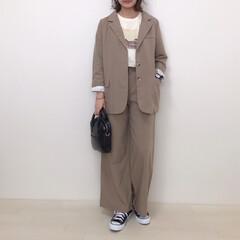 大人カジュアル/韓国ファッション/ベージュコーデ/ワントーンコーデ/セットアップ/ファッション rondyのセットアップ* ジャケットの…