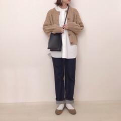 神デニム/スタンドカラーシャツ/ニットカーディガン/UNIQLO/GU/ファッション 着回しコーデ* こういうナチュラル系なコ…