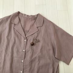 くすみピンク/プチプラ/クリアリング/オープンカラーシャツ/GU購入品/GU/... GU購入品* リネンブレンドオープンカラ…