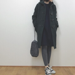 プチプラコーデ/GU/アウター/ダッフルコート/ファッション 急に寒くなってコートの出番が♡ グリーン…