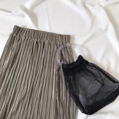ファッション/プチプラ/タイトスカート/メッシュバッグ/神戸レタス/GU 神戸レタスのプリーツタイトスカートとGU…