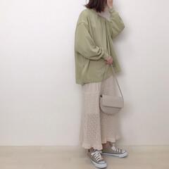 スウェット/透かし編みスカート/ピスタチオカラー/上下GU/GU/ファッション ピスタチオカラーのスウェットと透かし編み…