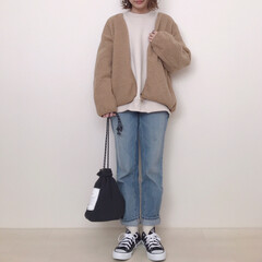 上下GU/ボアフリース/ユニクロ/ファッション カジュアルコーデ* ユニクロで990円で…