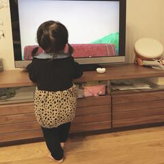 ベビーコーデ/赤ちゃん/1歳1ヶ月/娘 テレビを見ている娘。 いつも気がつくとこ…