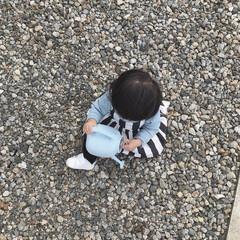 外遊び/娘/赤ちゃん/1歳2ヶ月 今日のお外遊び。 今日はお庭に置いてあっ…