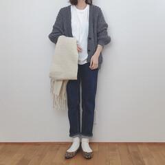 ざっくりカーディガン/ユニクロ/GU/ファッション シンプルコーデ。 このざっくりカーデ最近…