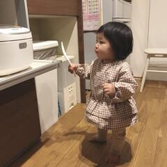 娘/赤ちゃんのいる生活/赤ちゃん/1歳2ヶ月/食いしん坊 食いしん坊な末っ子ちゃん。 しゃもじ持っ…