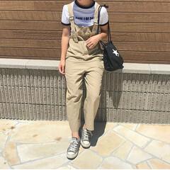 サロペット/男の子ママ/ママコーデ/夏コーデ/ファッション 夏のファッションコンテスト参加中〜〜🌻💓…