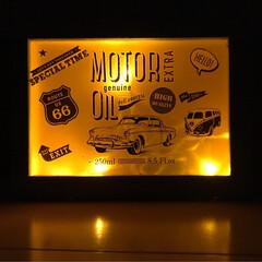 ライト/LED/リメイク/木箱リメイク/アメ雑/アメリカン雑貨/... ウォールサイン✨ セリア商品のみで作って…