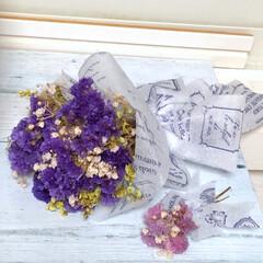 雨の休日/ガーランド/ミニミニブーケ/ブーケ/スワッグ/ドライフラワー/... お友達の病気のお母さんが「紫が好き」と言…