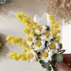 プチ/ミニスワッグ/ミモザ/スワッグ/春/花かんざし/... 今回はレースのように可愛い 花かんざし …