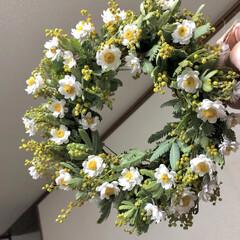 春の花/リース/花かんざし/ミモザ/小さい春 咲かせることができなかったミモザをベース…