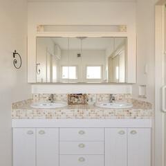 造作の洗面化粧台/Wシンクの洗面台/タイルのカウンターの洗面台/収納たっぷりの洗面台 オーダーのWシンクの洗面台です。 タイル…