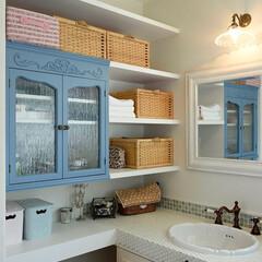 シャビーシックな家/タイルの洗面台/おしゃれな洗面台/フレンチスタイルの洗面台 イー・プランニング(ぶたさんの家)の作る…