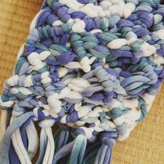 マクラメ編み/DAISO/Tシャツヤーン/ハンドメイド DAISOTシャツヤーンで マクラメ編み…(1枚目)