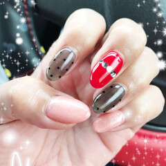 BLACK/Red/ピンク/ドット/シースル/ネイル/... ネイル💅行ってきましたぁ😊