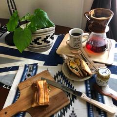コーヒーサーバー ガラス 電子レンジ ロクサン ガラスコーヒーサーバー 南海通商(コーヒーメーカー)を使ったクチコミ「休日の朝ごはん。 いつもゆっくり過ごして…」