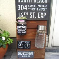 すのこ/セリア/カフェ看板/ソーラーライト/DIY すのこ2枚でカフェ看板風^^ セリアのア…