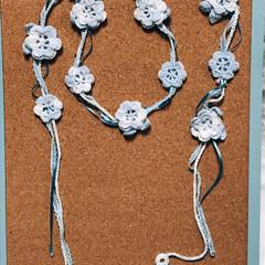 かぎ針編み/アクセサリー/編み物/レース糸/ハンドメイド/雑貨/... すてきにハンドメイドを参考に、レース糸の…