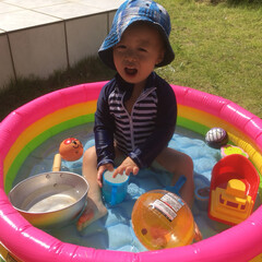 夏コーデ お家で水遊び