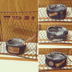 ロハス作品/デニムリメ缶/インテリア/DIY/雑貨/100均/... 小さい缶もデニムリメ缶に〜😋👍✨