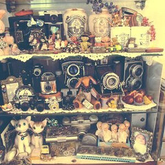 コレクション/ガラスケース/コレクションケース/アンティークカメラ 少し前のコレクションケースの中。。。