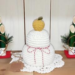 鏡餅飾り/鏡餅/お正月2020/ダイソー/100均 編み編みの鏡餅に門松でお正月飾り(*ᐛ*…