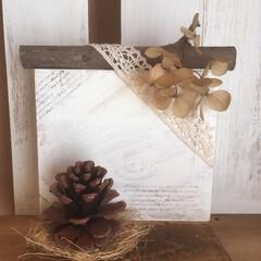 まつぼっくり/杉板/インテリア/DIY/雑貨/ハンドメイド 友達へのプレゼントに手作りしました。