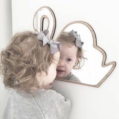 鏡/ウォールミラー/アニマル/割れにくい/うさぎ/雲/... 可愛いウォールミラー アクリル製で割れに…
