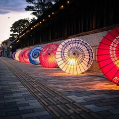 和傘/ノスタルジック/馬頭商店街/那珂川町/栃木県/光りのイベント ノスタルジックな夕暮れの街 光りのイベン…(1枚目)