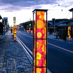 和傘/ノスタルジック/馬頭商店街/那珂川町/栃木県/光りのイベント ノスタルジックな夕暮れの街 光りのイベン…(3枚目)