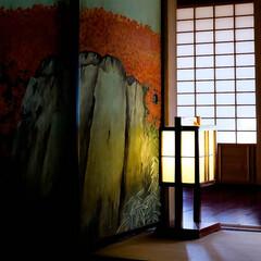 偕楽園/癒し/明かり/行灯 部屋の片隅にある行灯 優しい明かりを見て…