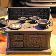 ファイヤーワールド/宇都宮/薪ストーブ/鋳物/ミニチュア/クッキングストーブ ミニチュアクッキングストーブ 鋳物製です…