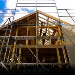 木造軸組工法/上棟 木造軸組工法 建物の骨組みが美しい